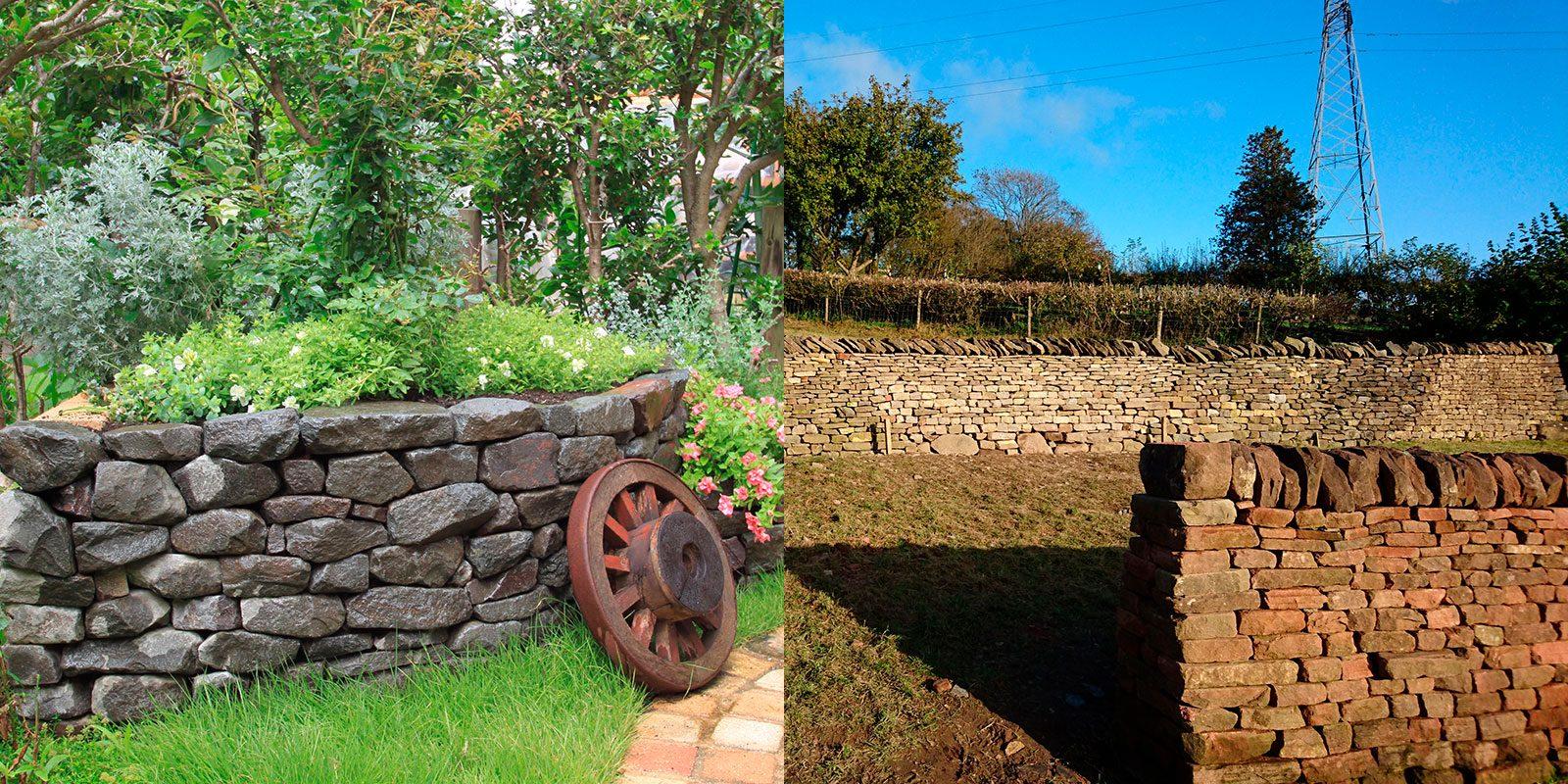 日本の石積み技術を使った花壇とコッツウォルズで見た石垣の写真